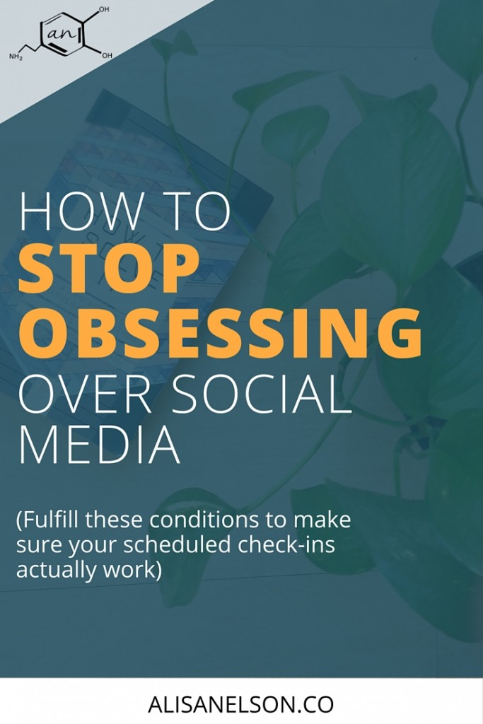 We covered WHY you obsessively check your social media...but how do you create a healthy balance between growing your business and not getting obsessed? Many recommend limiting yourself to just a couple check ins per day but that only works if you're satisfying these 6 conditions. Are you setting yourself up for success or are you wasting time obsessing over your social media profiles? Read on to save time. http://alisanelson.co