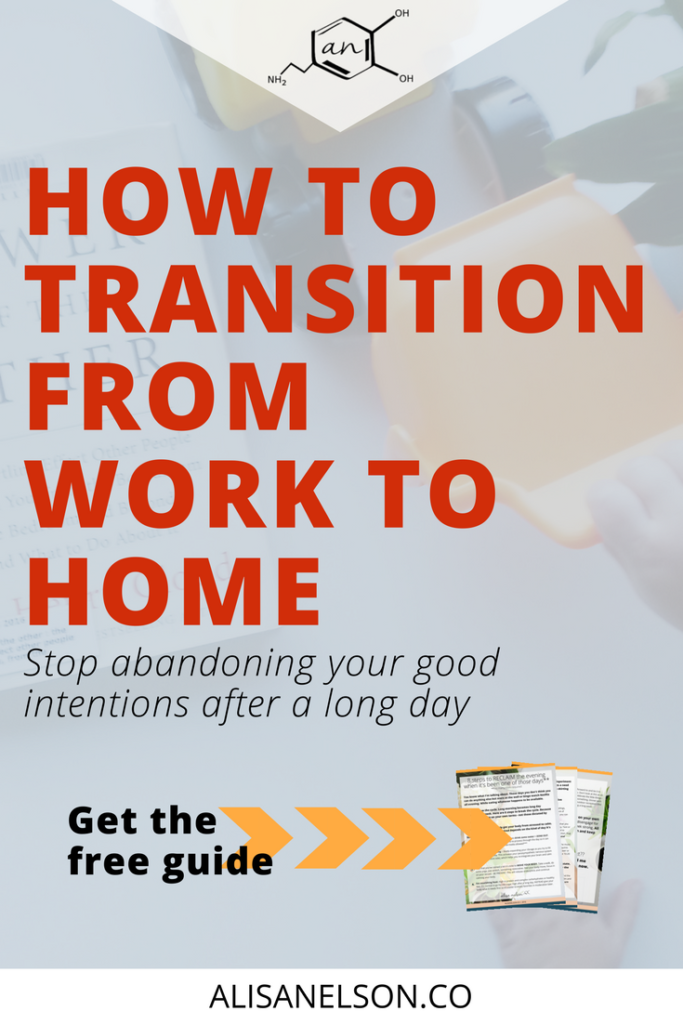 Are you tired of setting goals only to abandon them after a long day or a long week? It doesn't have to happen like that. Read on for strategies to help you transition from work to home PLUS a free guide containing 8 steps to RECLAIMING your evening after a long day. Read more: http://alisanelson.co